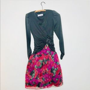 Vintage Retro 80's Tule Floral Skirt Prom Dress